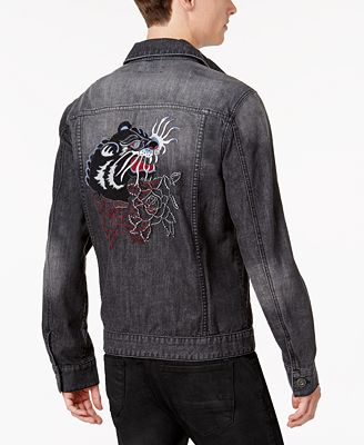 Anna Sui x INC International Concepts Men's Embroidered Panther Destroyed Denim Jacket, Created for Macy's