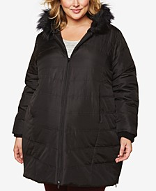 Plus Size Faux-Fur Hooded Coat