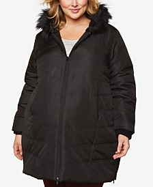 Motherhood Maternity Plus Size Faux-Fur Hooded Coat