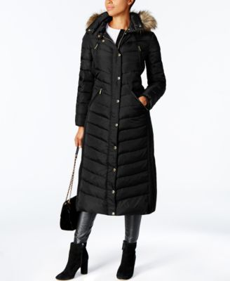 Petite Faux-Fur-Trimmed Hooded Maxi Down Coat