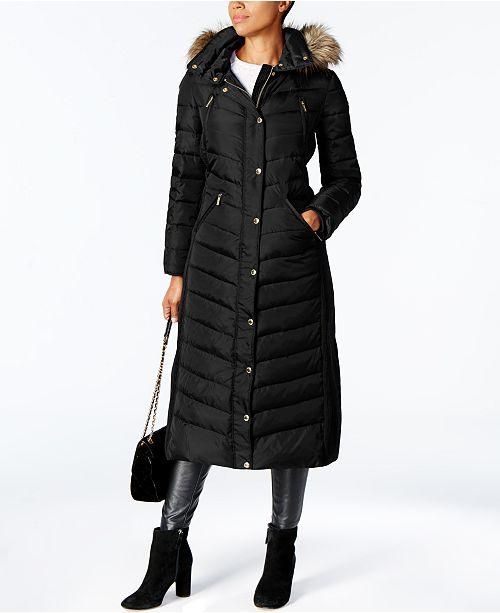 Michael Kors Faux-Fur Trim Hooded Down Coat