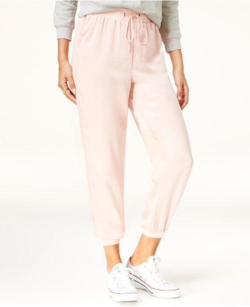 American Rag Juniors' Satin Cropped Joggers, Created for Macy's