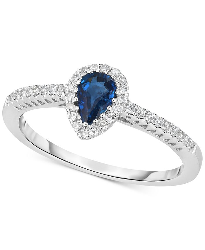 Macy's - Sapphire (3/8 ct. t.w.) & Diamond (1/8 ct. t.w.) Ring in 14k White Gold