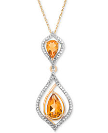 Citrine (1-1/5 ct. t.w.) & Diamond (1/10 ct. t.w.) Pendant Necklace in 14k Gold