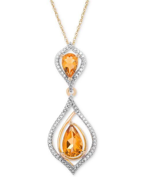 Macy's Citrine (1-1/5 ct. t.w.) & Diamond (1/10 ct. t.w.) Pendant Necklace in 14k Gold