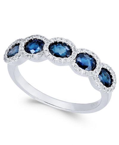 Sapphire (1-1/2 ct. t.w.) & Diamond (1/8 ct. t.w.) in 14k White Gold