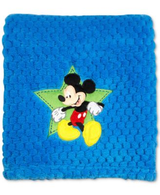 Mickey Mouse Embroidered Appliqué Textured Popcorn Fleece Blanket