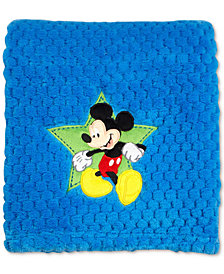Disney Mickey Mouse Embroidered Appliqué Textured Popcorn Fleece Blanket