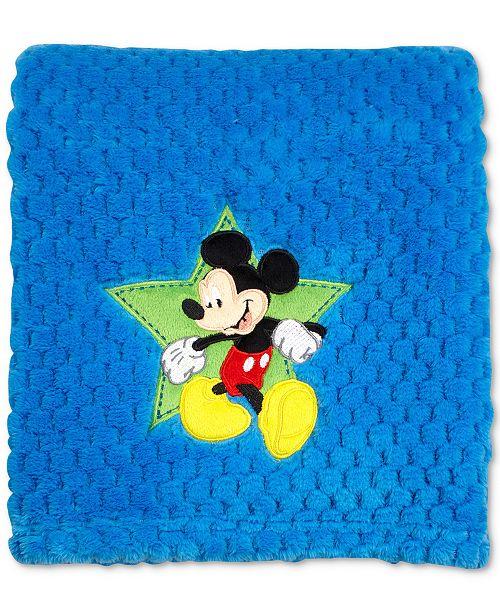 Disney Mickey Mouse Embroidered Appliqué Textured Popcorn Fleece Blanket