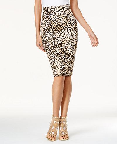 Thalia Sodi Animal-Print Scuba Pencil Skirt