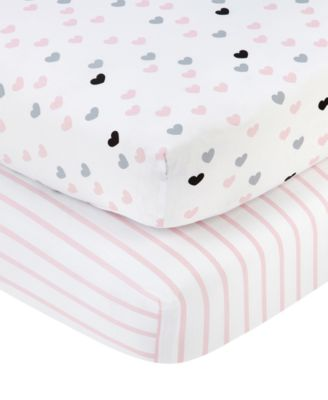 Little Love by Hugs & Kisses 2-Pc. Heart & Stripe-Print Fitted Crib Sheet Set