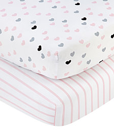 Little Love by NoJo Hugs & Kisses 2-Pc. Heart & Stripe-Print Fitted Crib Sheet Set