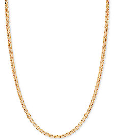 "24"" Round Box Link Chain Necklace in 14k Gold"