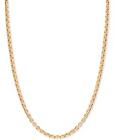 "24"" Round Box Link Chain Necklace (1-1/2mm) in 14k Gold"