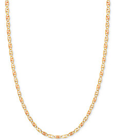 "18"" Tri-Color Valentina Chain Necklace (1/5mm) in 14k Gold, White Gold & Rose Gold"