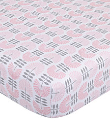 Petunia Pickle Bottom Dreaming in Dax  100% Cotton Fan-Print Jersey-Knit Fitted Crib Sheet