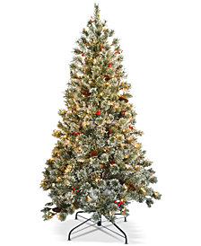 National Tree Company 6' Crystal Cashmere Tree With Pine Cones, Red Berries & 200 Clear Lights