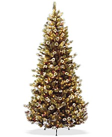 7.5' Glittery Pine Slim Tree With 500 Clear Lights