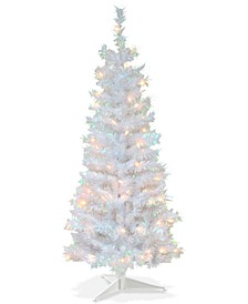 4' White Iridescent Tinsel Tree With Plastic Stand & 70 Clear Lights