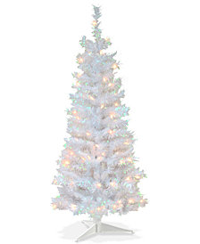 National Tree Company 4' White Iridescent Tinsel Tree With Plastic Stand & 70 Clear Lights