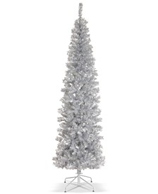 6' Silver Tinsel Tree With Metal Stand