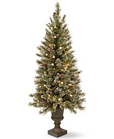 4' Glittery Bristle Pine Entrance Tree With Urn Base & 100 LED Lights