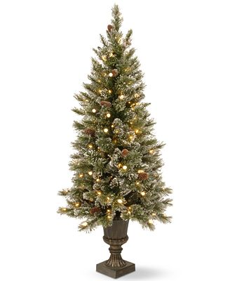 National Tree Company 4' Glittery Bristle Pine Entrance Tree With Urn Base & 100 LED Lights