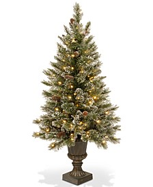 5' Glittery Bristle Pine Entrance Tree With Urn Base & 150 Clear Lights