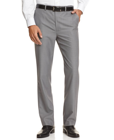 Calvin Klein BODY Slim-Fit Sharkskin Dress Pants - Pants - Men ...