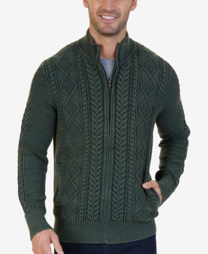 Men's Vintage Style Sweaters – 1920s to 1960s Nautica Mens Cotton Cable-Knit Zip Sweater $109.99 AT vintagedancer.com
