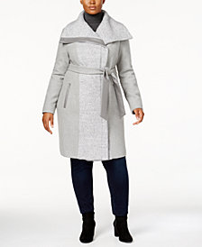 Vince Camuto Plus Size Faux-Leather-Trim Walker Coat