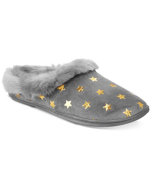 Charter Club Metallic Star Clog Slippers, Created for Macy's