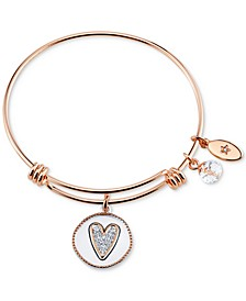 Two-Tone Girlfriends Heart Charm Bangle Bracelet in Rose Gold-Tone Stainless Steel with Silver Plated Charms