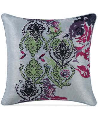 """CLOSEOUT! Iris Embroidered 16"""" Square Decorative Pillow"""