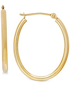 Polished Oval Tube Hoop Earrings in 10k Gold, 1 inch