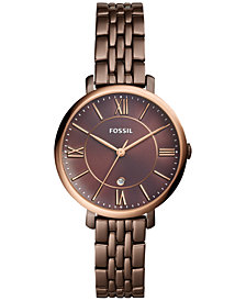 Fossil Women's Jacqueline Brown Stainless Steel Bracelet Watch 36mm