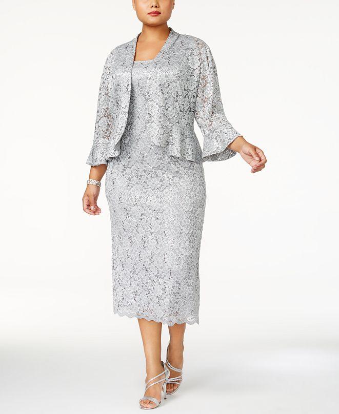 R & M Richards Plus Size Lace Dress & Ruffled Jacket