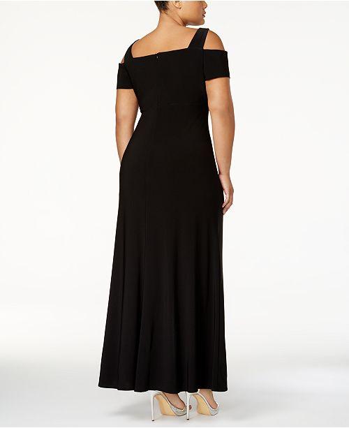 80b1fc800d4 Nightway Plus Size Cold-Shoulder Keyhole Gown   Reviews - Dresses ...