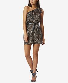 Avec Les Filles Leopard-Print One-Shoulder Dress