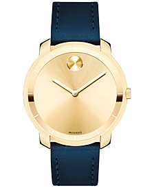 Movado Women's Swiss Bold Blue Leather Strap Watch 36mm