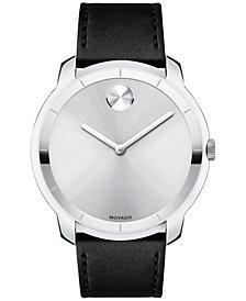 Movado Men's Swiss Bold Black Leather Strap Watch 44mm
