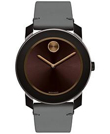 Men's Swiss Bold Gray Leather Strap Watch 42mm