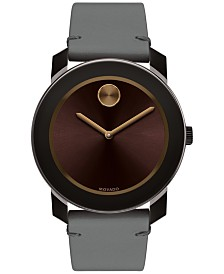 Movado Men's Swiss Bold Gray Leather Strap Watch 42mm