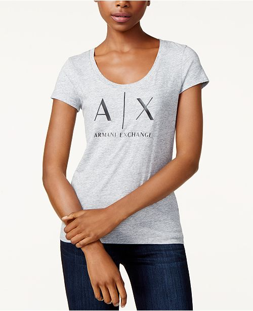 f1dc6534b1d Armani Exchange Logo Graphic T-Shirt & Reviews - Tops - Women - Macy's