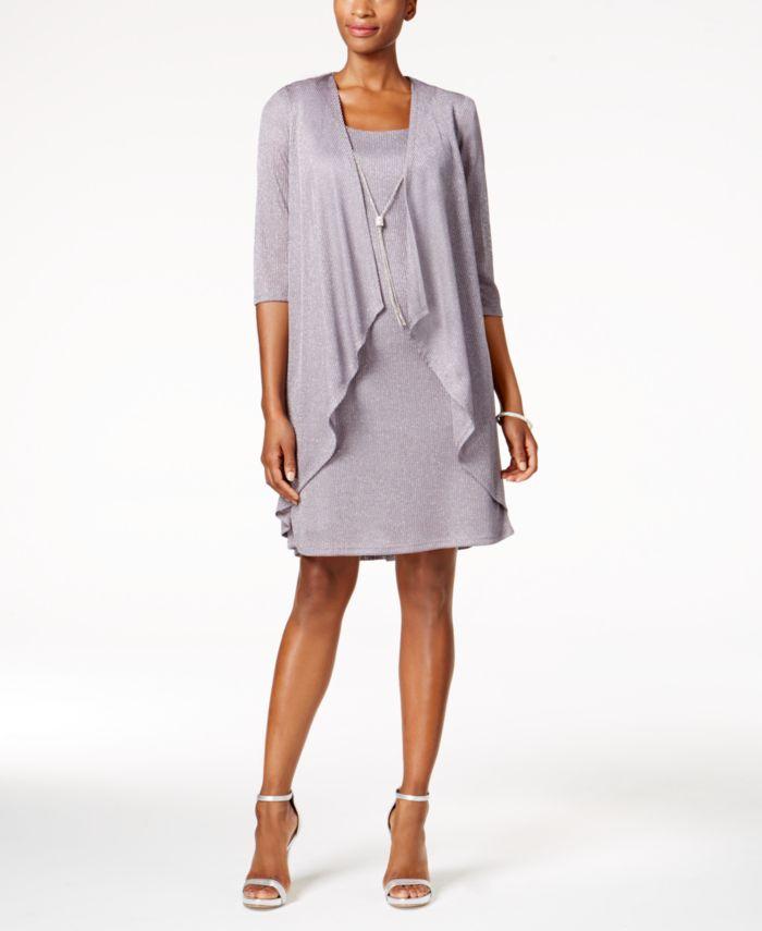R & M Richards Shift Dress and Draped Jacket & Reviews - Dresses - Women - Macy's