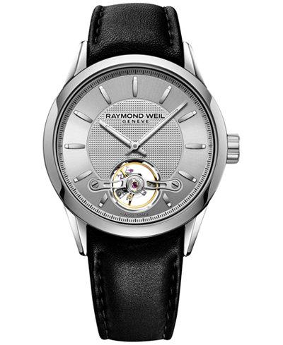 RAYMOND WEIL Men's Swiss Automatic Freelancer Black Leather Strap Watch 42mm