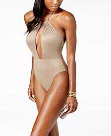 Kenneth Cole Metallic Tummy-Control Halter One-Piece High-Leg Swimsuit