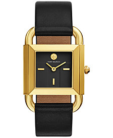 Tory Burch Women's Phipps Black Leather Strap Watch 29x41mm