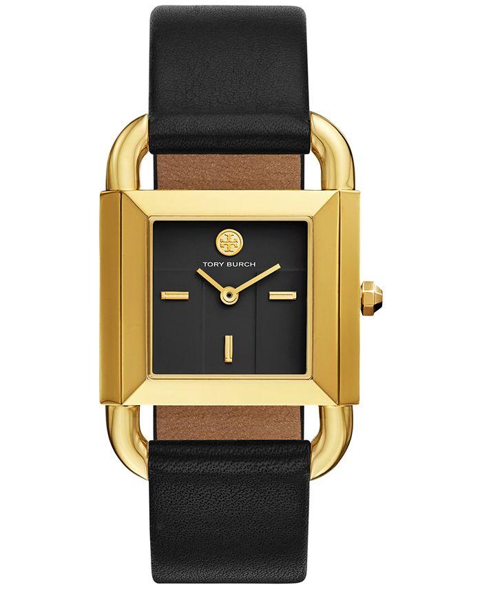 Tory Burch - Women's Phipps Black Leather Strap Watch 29x41mm