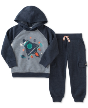 Kids Headquarters 2Pc Rocket Hoodie Sweatshirt  Jogger Pants Set Toddler Boys (2T5T)